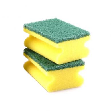 Kempinė su žaliu abrazyvu PROFI, 15x7,5x4 cm Geltona