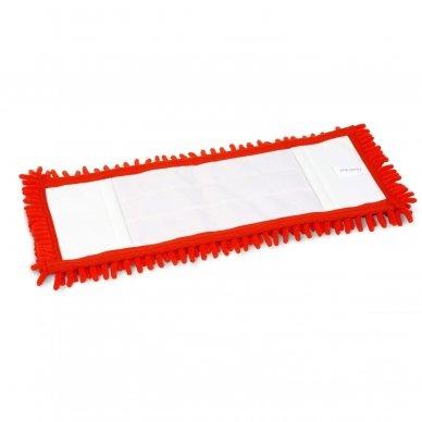 Grindų mikropluošto šluostė  CHENILE su kišenėmis, Raudona, 40 cm 2